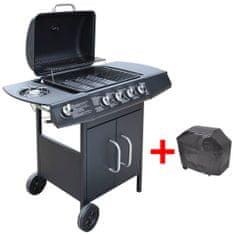 shumee Grill gazowy ze strefą gotowania 4+1, kolor czarny