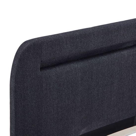 shumee Posteljni okvir z LED osvetlitvijo temno sivo blago 160x200 cm