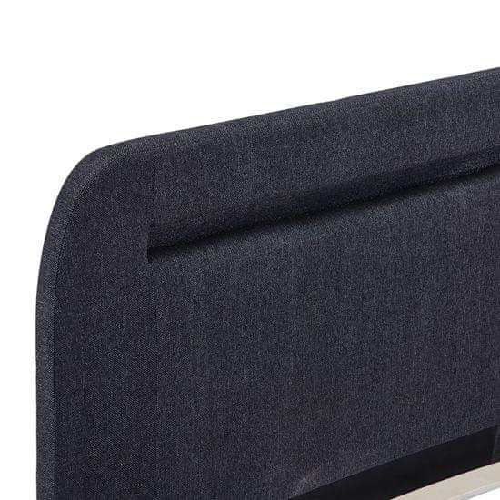 shumee Posteljni okvir z LED osvetlitvijo temno sivo blago 180x200 cm