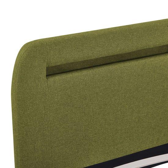 shumee Posteljni okvir z LED osvetlitvijo zeleno blago 160x200 cm