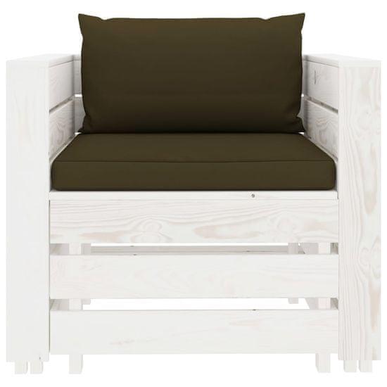 shumee 2-ks. sada záhradného nábytku z paliet, taupe vankúšov, dreva