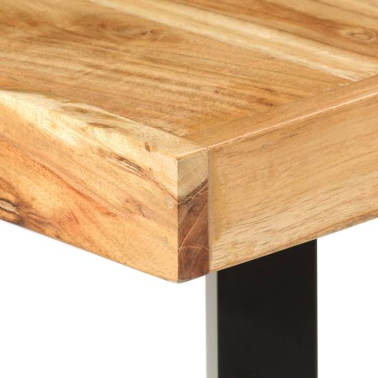 shumee Barska garnitura 9-delna akacijev les, pravo usnje in platno