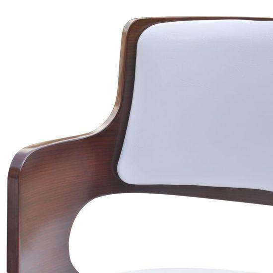 shumee Barski stolčki 4 kosi ukrivljen les in umetno usnje beli