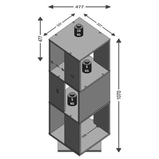Greatstore FMD Otočná kartotéka otvorená 34x34x108 cm vzhľad betónu