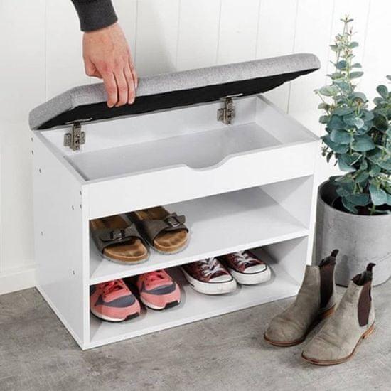 HI Botník na obuv a lavička s poduškou 60 x 30 x 45 cm