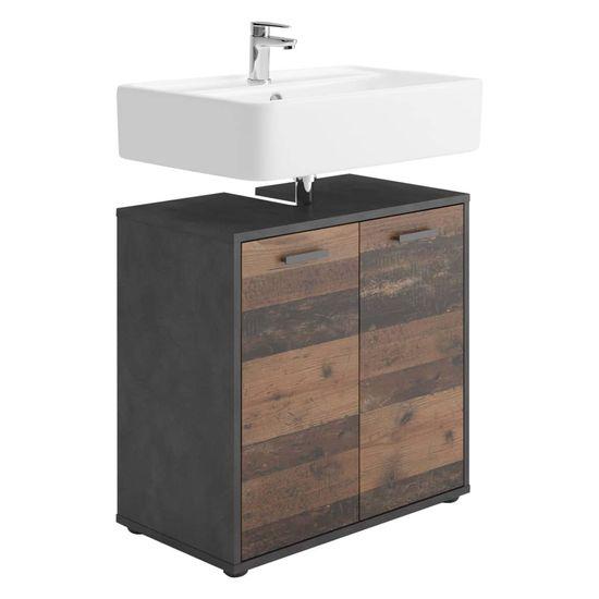 shumee FMD Szafka pod umywalkę, 2 drzwiczek, matera, postarzane ciemne drewno
