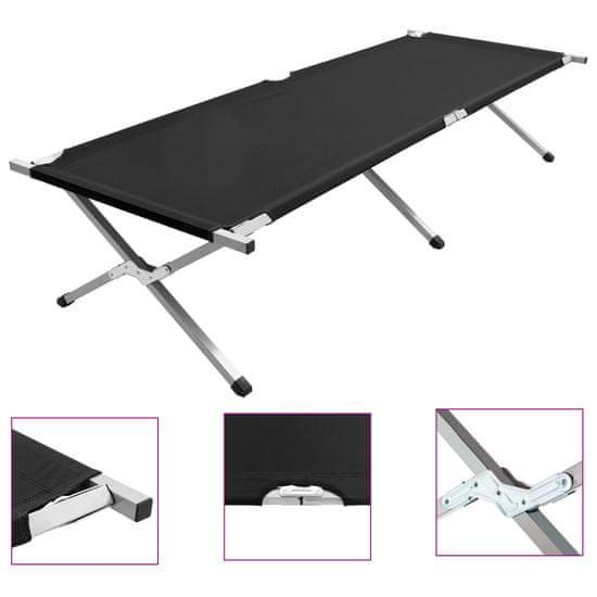 Kempingová postel 210 x 80 x 48 cm XXL černá