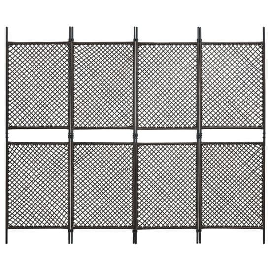 shumee Paravan 4-delni iz poli ratana rjav 240x200 cm
