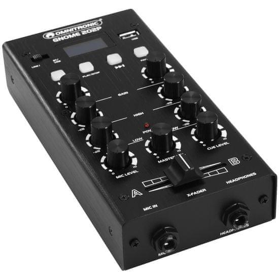 Omnitronic GNOME-202P, 2-kanálový, USB, MP3, Bluetooth, černý