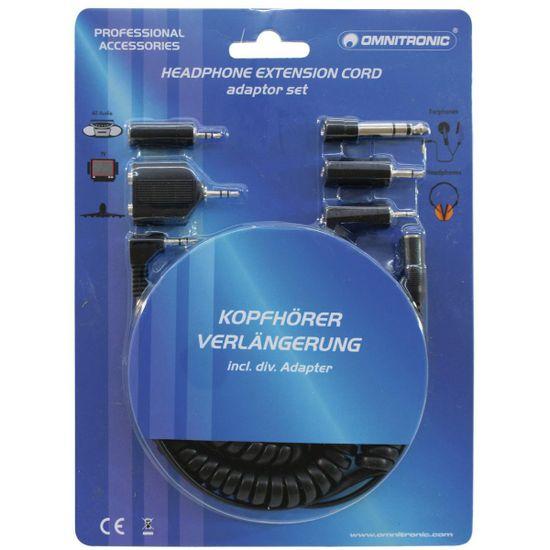 Omnitronic Prodlužovací sluchátkový kabel 5m + redukce