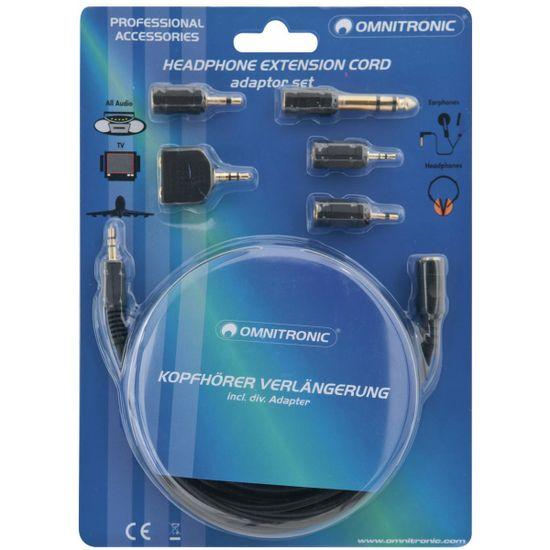Omnitronic Sluchátkový prodlužovací kabel 3 m + set redukcí