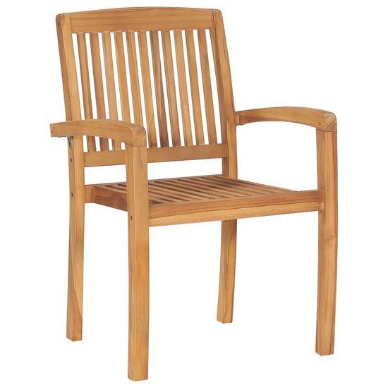 shumee Stohovateľné záhradné stoličky s podložkami 6 ks tíkový masív