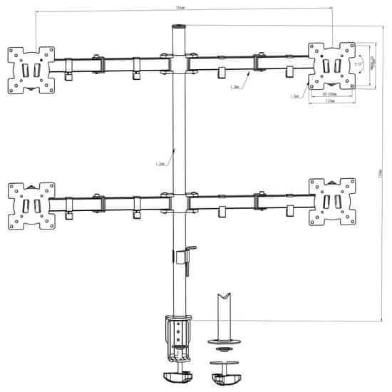 shumee 4ramenný stolní držák na monitor 13–23''