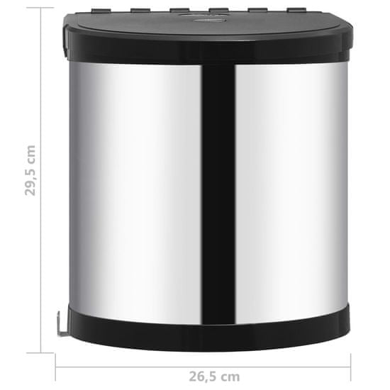 shumee acél beépíthető konyhai műanyag szemetes 12 l