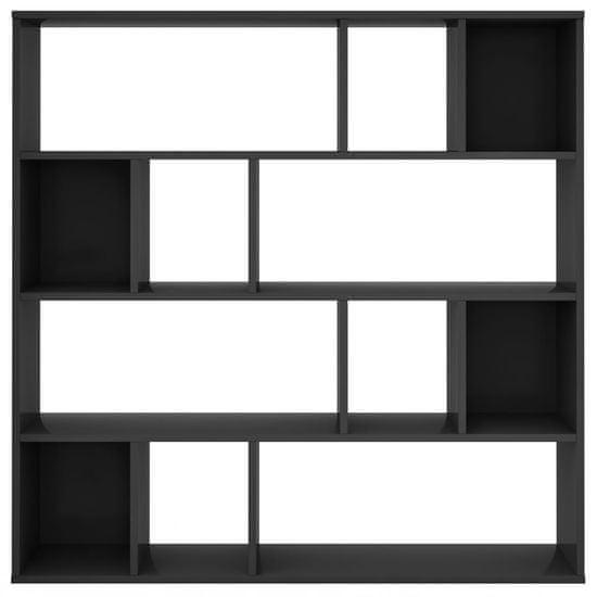 shumee Paravan/omara visok sijaj črna 110x24x110 cm iverna plošča