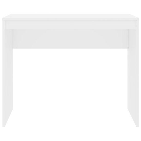 shumee Pisalna miza visok sijaj bela 90x40x72 cm iverna plošča