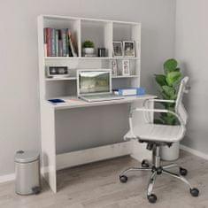 shumee Stôl s policami lesklý biely 110x45x157 cm drevotrieska