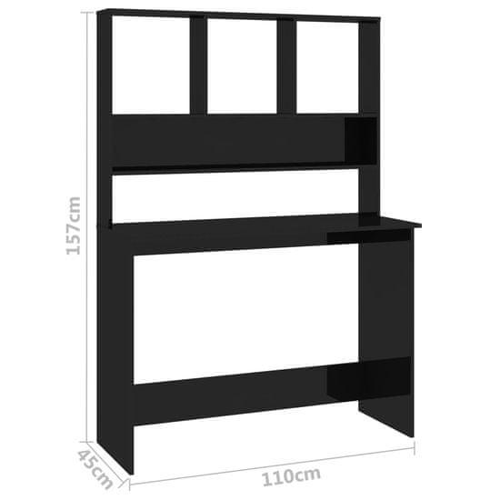 shumee magasfényű fekete forgácslap íróasztal polcokkal 110x45x157 cm