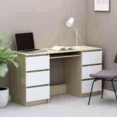 shumee Písací stôl, biely a dub sonoma 140x50x77 cm, drevotrieska