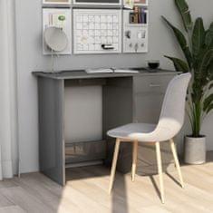 shumee Písací stôl, lesklý sivý 100x50x76 cm, drevotrieska