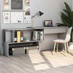shumee Rohový stôl, sivý 200x50x76 cm, drevotrieska