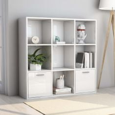 shumee Knižnica, lesklá biela 98x30x98 cm, drevotrieska