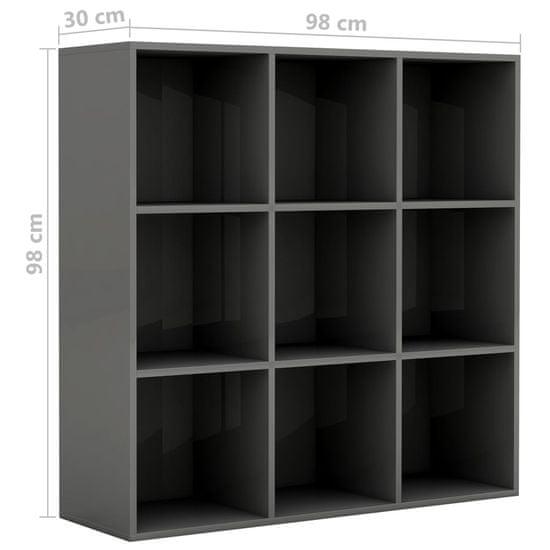 shumee Knjižna omara visok sijaj siva 98x30x98 cm iverna plošča