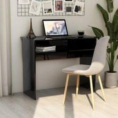 shumee Písací stôl, lesklý čierny 90x50x74 cm, drevotrieska