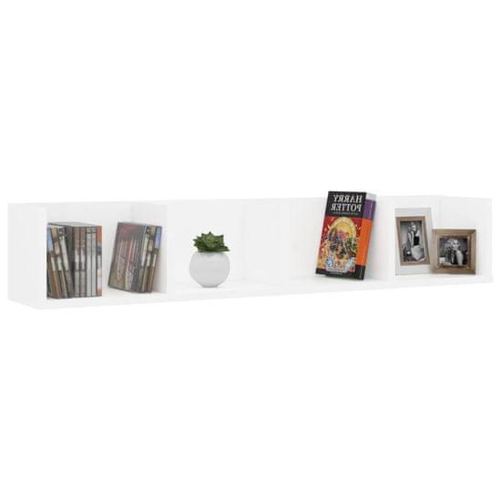 shumee Półka ścienna na płyty CD, biała, 100x18x18 cm, płyta wiórowa