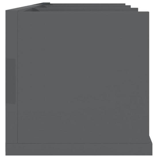 shumee Stenska polica za CD plošče visok sijaj siva 75x18x18 cm