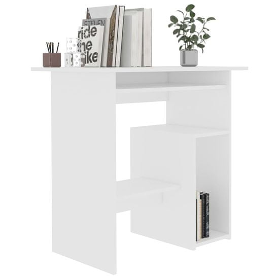 shumee Pisalna miza bela 80x45x74 cm iverna plošča