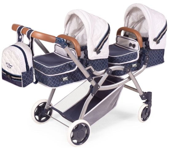 DeCuevas 80337 Składany wózek dla dwóch lalek 3 w 1 z plecakiem TOP Collection