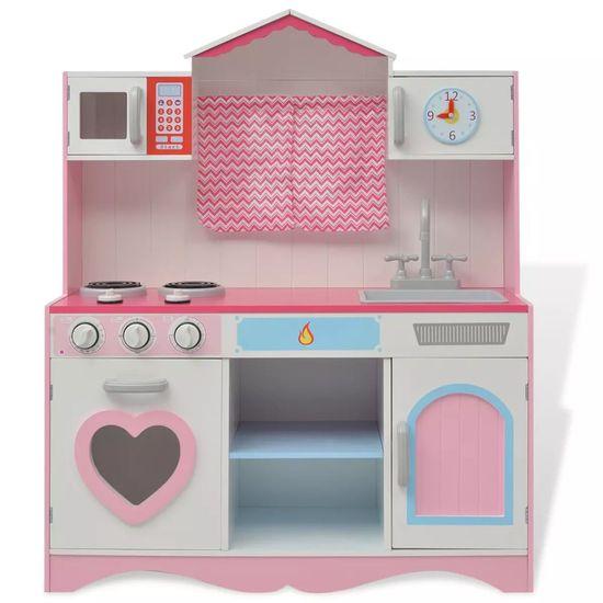 shumee Kuchnia zabawkowa 82x30x100 cm, drewno, różowo-biała