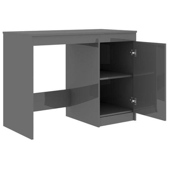 shumee magasfényű szürke forgácslap íróasztal 100 x 50 x 76 cm