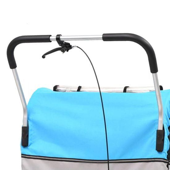 Dětský vozík za kolo a kočárek pro běžce 2v1 modro-šedý