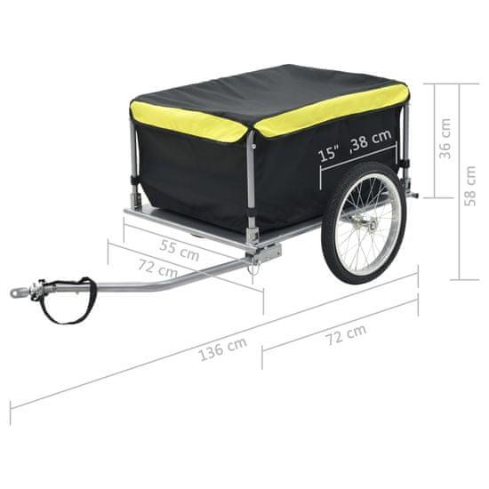 Přívěsný vozík za kolo černožlutý 65 kg