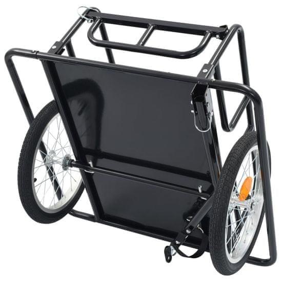 Greatstore Přívěsný vozík za kolo 130 x 73 x 48,5 cm ocel černý