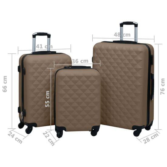 shumee 3 db barna ABS keményfalú gurulós bőrönd