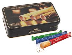 Gottlieber Hüppen Tradition Švýcarské čokoládové trubičky v exkluzivní dóze - příchuť praliné, mocca a gianduja, 10 kusů, 150 g. Switzerland's Finest Since 1928.