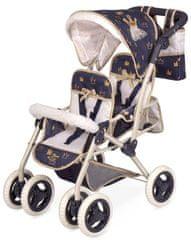 DeCuevas 90332 Zložljivi voziček za punčke dvojčka z vrečko Classic Gold