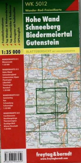 World Maps WK5012 Hohe Wand, Schneeberg, Biedermeiertal, Gutenstein1:35t turistická mapa FB