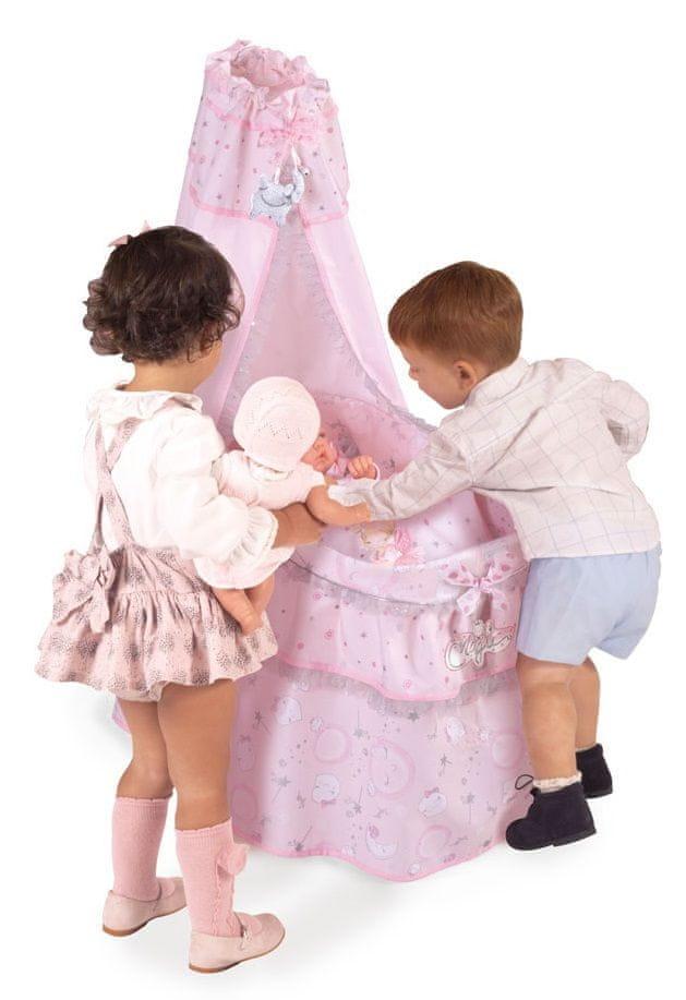 DeCuevas 51034 Pojízdná postýlka pro panenky s nebesy a doplňky Magic Maria - rozbaleno