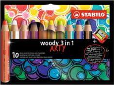 """Stabilo Multifunkční pastelky """"Woody 3 v 1"""", sada 10 barev"""