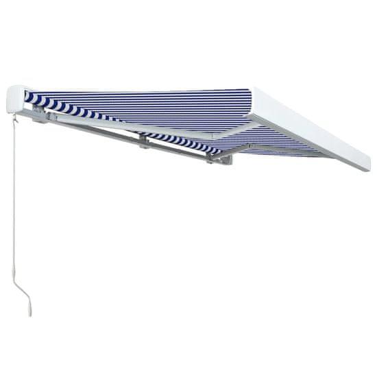 Greatstore Ročno zložljiva kasetna tenda 350x250 cm modra in bela