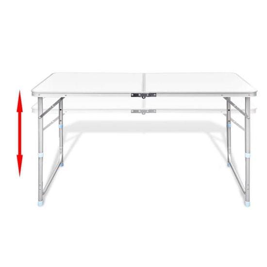 shumee Zložljiv set za kampiranje miza z nastavljivo višino 120x60cm in 4stol