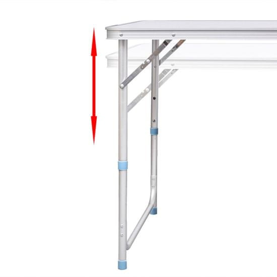 shumee Zložljiva aluminijasta miza za kamp. z nastavljivo višino 120 x 60 cm