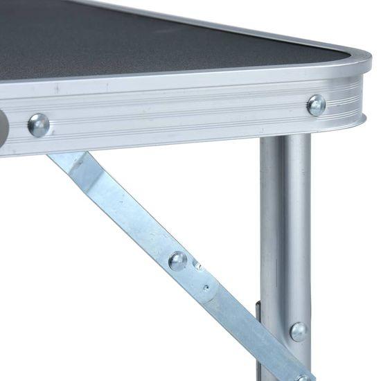 shumee Zložljiva miza za kampiranje siva iz aluminija 60x45 cm