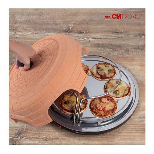 Clatronic Pizza trouba , PO3682, terakotový příklop, bez tuků a zápachu, až 6 ks najednou, 2 topná tělesa, 6 nerezových lopatek, 1 vyřezávací forma, recepty, 1100 W