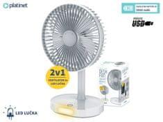 Platinet PRDF0326 namizni ventilator, s polnilno baterijo in LED lučko, bel
