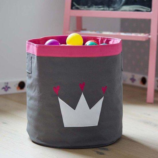 Love It Store It Veľký úložný box na hračky, okrúhly - šedý, biela koruna